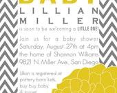 Lillian- Baby Shower Invitation in chevron - PRINTABLE INVITATION DESIGN
