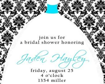 Jaden- Bridal Dress-Custom Bridal Shower Invitation