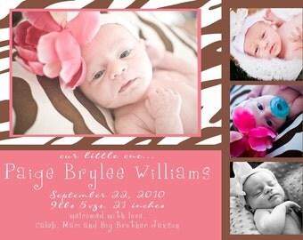 Paige-Custom Zebra Birth Announcement