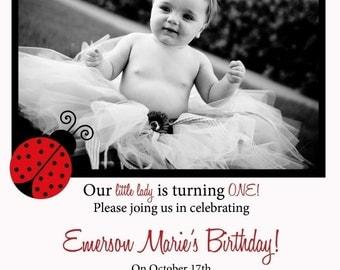EmersonMarie- Custom Ladybug Photo Birthday Invitation