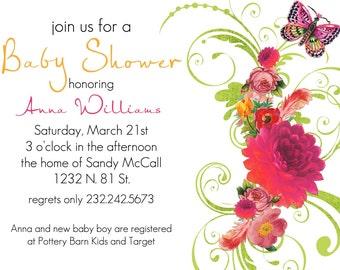 Anna- Custom Baby Shower Invitation - PRINTABLE INVITATION DESIGN