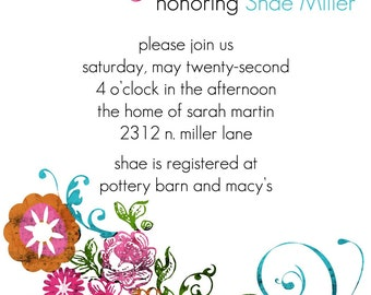 Shae- Custom Bridal Shower Invitation - PRINTABLE INVITATION DESIGN