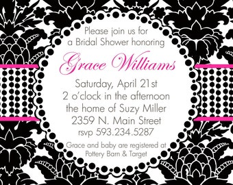 Grace- Custom Bridal Shower Invitation - PRINTABLE INVITATION DESIGN