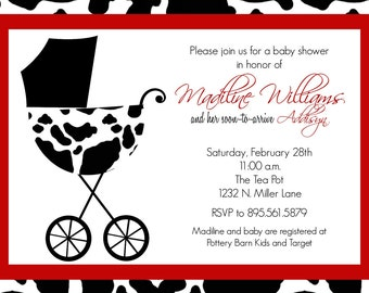 Madiline- Custom Baby Baby Shower Invitation with cow print