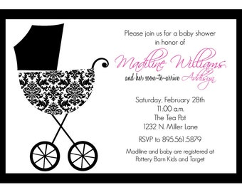 Madiline- Custom Baby Damask Baby Shower Invitation - PRINTABLE INVITATION DESIGN