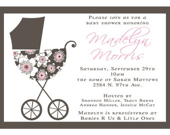 Madelyn- Baby Shower Invitation- Pink