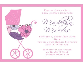 Madelyn- Custom Baby Shower Invitation-Perfect for a Little Girl Arrival