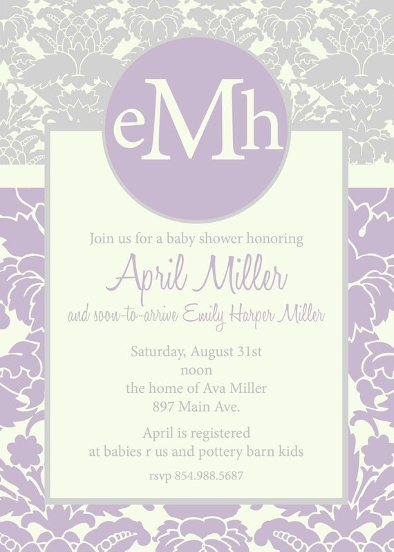 April- Custom Damask Baby Shower Invitation - PRINTABLE INVITATION DESIGN