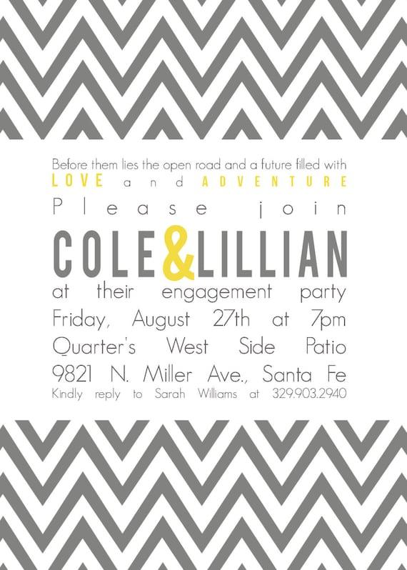 Cole&Lillian- Custom Chevron Engagement Party Invitation - PRINTABLE INVITATION DESIGN