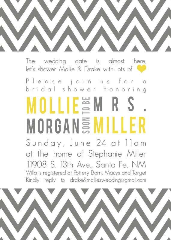 Mollie- Custom Chevron Bridal Shower Invitation - PRINTABLE INVITATION DESIGN