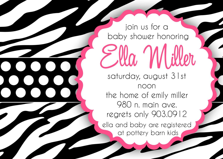ella custom baby shower invitation in zebra by andreagerigdesigns