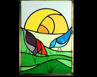 Sunrise Birds Stainedglass
