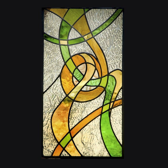 SALE Swirled World Stained Glass Window