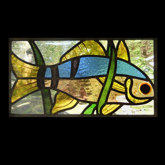 Curious fish stained glass panel for Stained glass fish