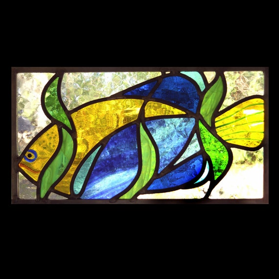 Curiouser Fish Stained Glass Panel