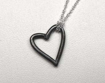 Oxidized Sterling Silver Open Heart Necklace