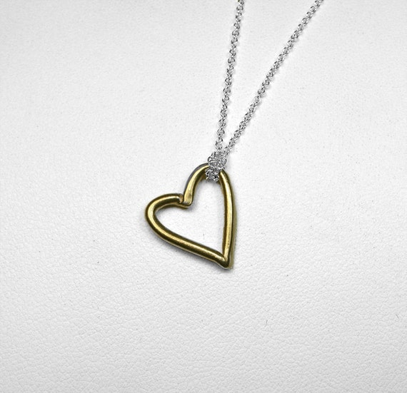 ON SALE-Gold & Silver Open Heart Necklace