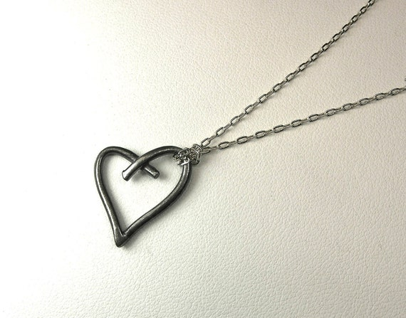 Oxidized Silver Crossed Heart Necklace