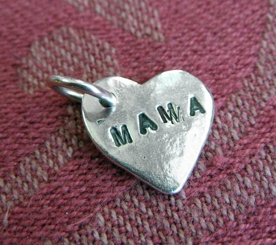 Silver Mama Heart Charm
