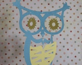 SALE Scrappy Owl Mobile - Eastern Screech Owl (turquois/canary)