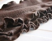 Chocolate Brown Ruffle Fleece Scarflette / Scarf.......additional beautiful colors available