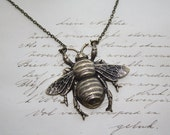 Brass Bumble Bee Necklace Steampunk Antiqued
