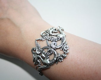 Gothic bracelet - sterling silverplated double dragon ornament - fantasy mystical mythological