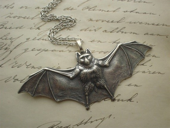 Dark Gothic bat necklace..