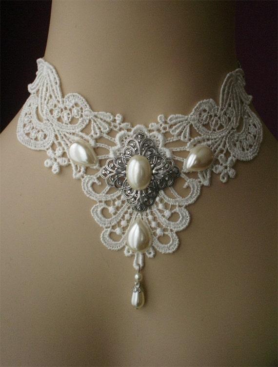 Victorian choker - bridal choker - gothic choker whimsical white cream pearls silver filigree