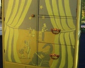 Vintage Handpainted Furniture Child's Circus Wardrobe