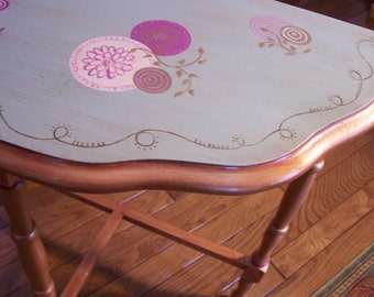 Hand Painted Furniture Vintage Demilune Side Table