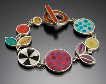 Colorful bracelet,sterling silver,resin inlay