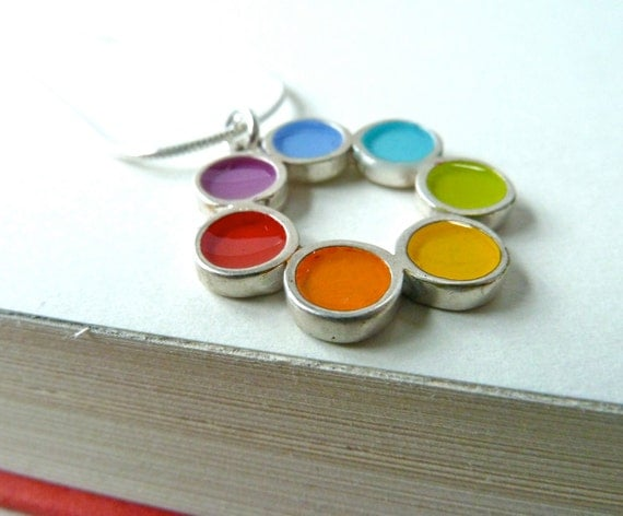Rainbow Charm Necklace,Sterling Silver,Handmade,Mixed Media