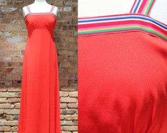 Vintage Red Maxi Dress Rainbow Straps