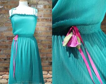 Vintage Sheer Teal Blue Green Dress / Adjustable Straps