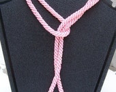 Pink for October Extra Long Hand Beaded Pink Necklace
