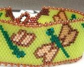 Bracelet Beaded Peyote, Summer Dragonfly
