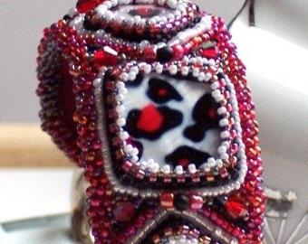 Statement Cuff Bracelet Hand Beaded Red Cheetah