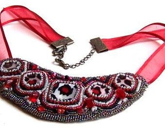 Statement Bib Necklace Beaded in a Red Cheetah Print