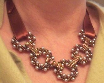 Bib Necklace Bronze and Silver Beaded Rings, Linked Rings Necklace