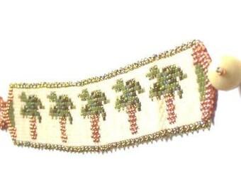Tropical Palm Tree Beaded Bracelet