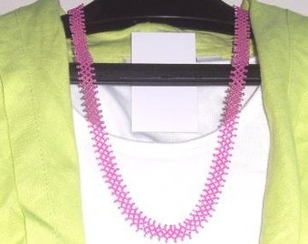Hot Pink Seed Bead Net Necklace