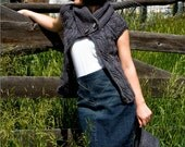 Women's Knit Sweater Cardigan in Charcoal Gray - Signora Sopris