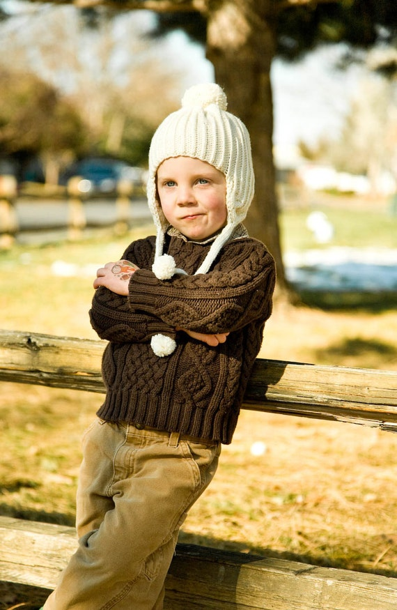 Boys Knit Hat with Earflaps, Ties, and Pom Poms - in Christmas Cream