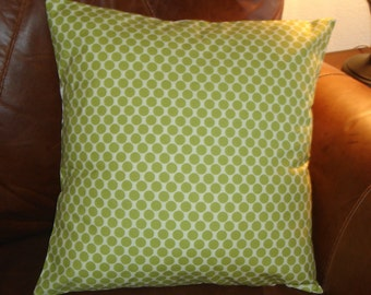 SUMMER SALE - Throw Pillow Cover, Lime Green & White Polka Dot Accent Pillow Cover, Handmade Full Moon in Lime Polka Dot Cushion Cover