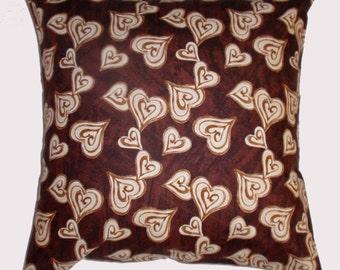 "Throw Pillow Cover, Coffee Hearts Pillow Cover, Toss Pillow, Accent Pillow, Brown Pillow Cover, Pillowcase, Studio e Fabric, 16x16"" Square"