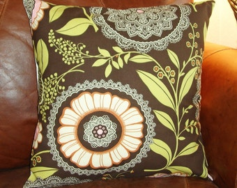 """Throw Pillow Cover, Toss Pillow Cover, Accent Pillow, Pillowcase, Floral Pillow Cover, Brown Floral Pillow, Amy Butler Fabric, 16x16"""" Square"""