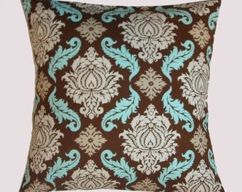 SUMMER SALE - Handmade Throw Pillow Cover, Elegant Decorative Brown Damask Cushion Cover, Bark Brown & Blue Damask Accent Pillow Cover