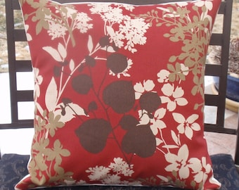 Throw Pillow Cover, Outdoor Pillow, Toss Pillow, Accent Pillow, Decorative Cushion, Red Floral Silhouette Pillow, Solarium Fabric, Square
