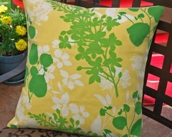 SUMMER SALE - Throw Pillow Cover, Floral Silhouette Outdoor Accent Pillow Cover, Handmade Decorative Lemon Yellow & Green Cushion Cover